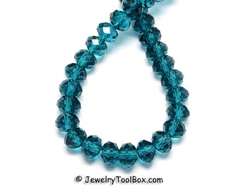 TEAL Crystal Rondelles, Dark Cyan Faceted Glass Abacus Beads, 16 to 24 inch Strands, Choose Bead Size 6x4mm, 8x6mm, 10x7mm, 12x8mm, Hole 1mm