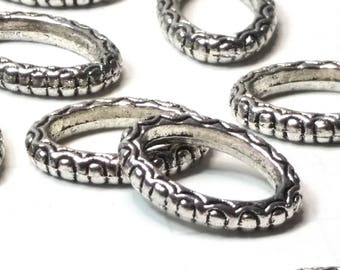 Oval Connector Links, Jewelry Rings, 16x11x2.5mm Necklace Bracelet Loops, Antique Silver Pewter, Lot Size 10 to 30, #1367