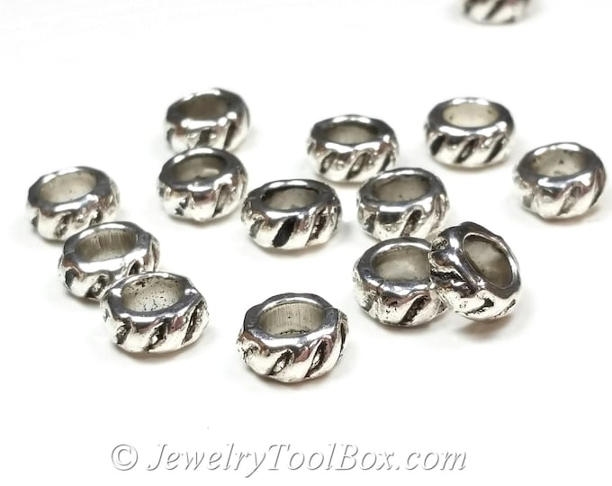 Rondelles, 50 Beads, Silver Pewter Spacers, 4x8mm, 5mm hole, Antique Silver Finish, Lead Free, #1228 BH