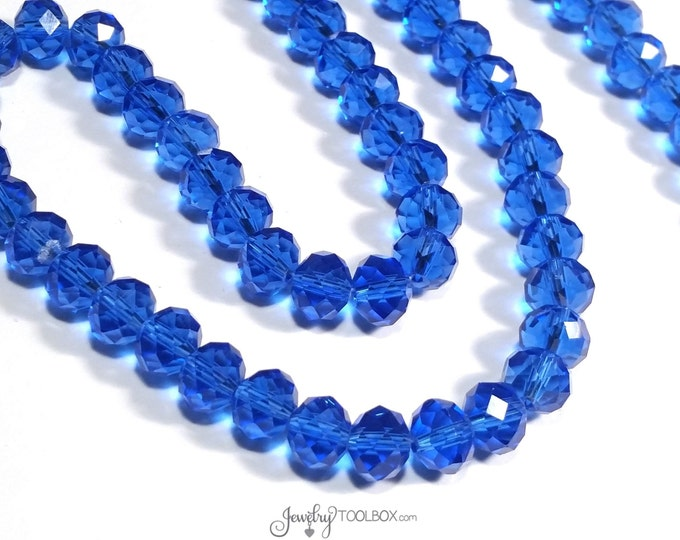 MEDIUM BLUE Crystals, Transparent Blue Faceted Glass Abacus Beads, Crystal Rondelle Beads, 10x7mm, Hole 1mm, Lot Size 20 to 72 Bds, #1007 MB