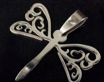 Stainless Dragonfly Pendant Finding, Steel Charm, Silver Tone, 26x32x1mm, Hole: 7x4mm , Hypoallergenic, Non Tarnish,  Lot Size 1 to 5, #1836