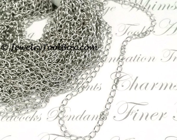 Twist Chain, Stainless Steel, Soldered Links, 3x4x0.5mm, 316 Stainless, Hypoallergenic, Non Tarnish, Lot Size 2 to 20 feet, #1925