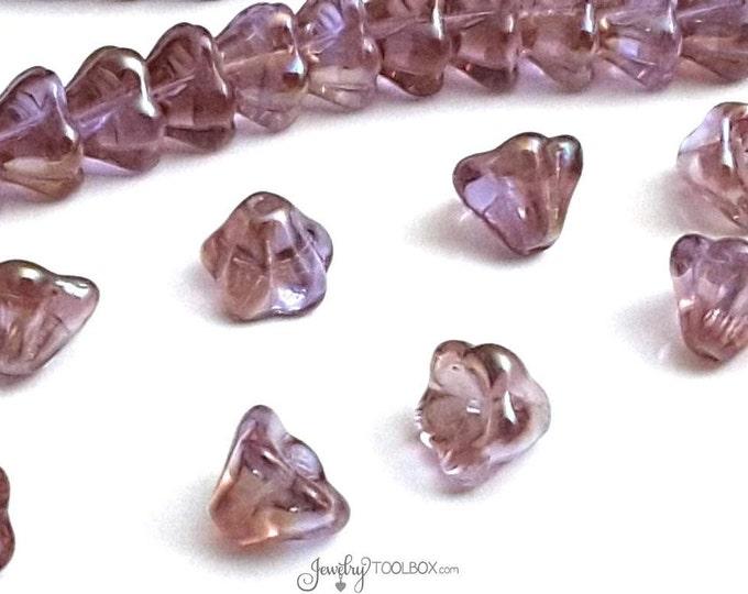 Alexandrite Bell Flower Beads, Czech Glass Beads,  8x6mm Bellflower Beads, Alexandrite Celsian Flower Bead Cap, Lot Size 25 Beads, #221