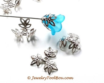 Filigree Bead Caps, 3 Leafs, Silver Color, Bendable Moldable Iron, 15mm, 1.5mm Hole, Lot Size 50 to 300, #2057 S