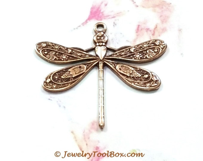 Antique Copper Dragonfly Charms, Pendant, 21x24mm, 1 Loop, Brass Stamping Large, Made in the USA, Lot Size 6 to 20, #04C
