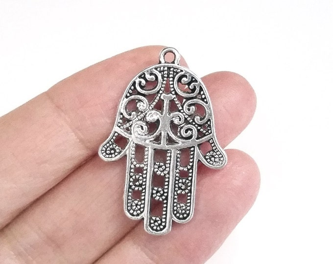 Filigree Hamsa Hand Pendants, Ornate, Antique Silver Finish Pewter, 35x24mm, Double Sided, Lot Size 10 to 20, #1272