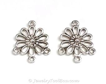 Chandelier Daisy Earring Finding, Antique Silver Flower Earring Parts, Nickel Free, 18x22mm, 1.5mm Loops, Lot Size 10 to 50, #2139