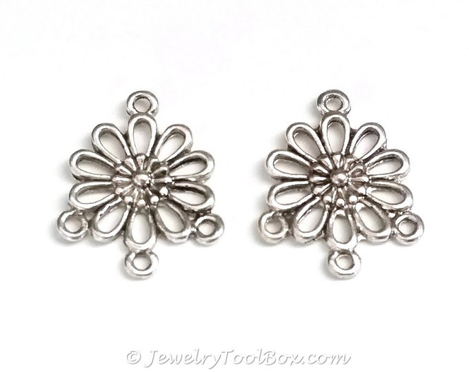 Chandelier Daisy Earring Finding, Antique Silver Flower Earring Parts, Nickel Free, 18x22mm, 1.5mm Loops, Lot Size 10 to 50, #2139