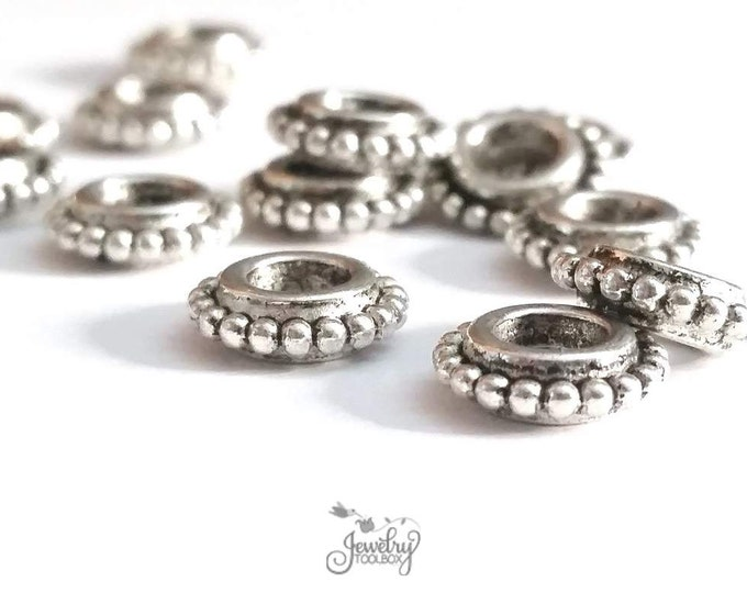Silver Rondelle Beads, 4mm Large Hole Beads, 9x3mm, Bali Look, Antique Silver Finish Pewter, Lead Free, Lot Size 30 to 100,  #1220 BH