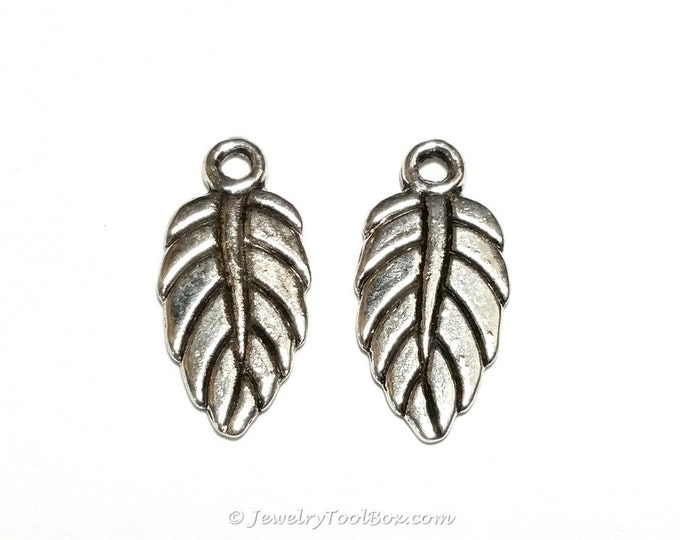 Silver Leaf Charms, Earring Drops, Double Sided, Lead Free, Nickel Free, 19x9mm, 2mm Loop, Lot Size 10 to 50, #2150