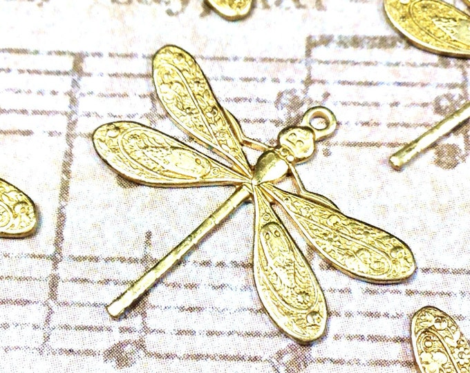 Dragonfly Charms, Pendant, 21x24mm, 1 Loop, Raw Brass, Large, Made in the USA, Lead Free, Nickel Free, Lot Size 6 to 20, #04R
