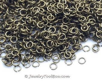 Bronze Jump Rings, Brass, Antique Finish, 5mm x 1mm, 18 gauge, Lot Size 100 to 500