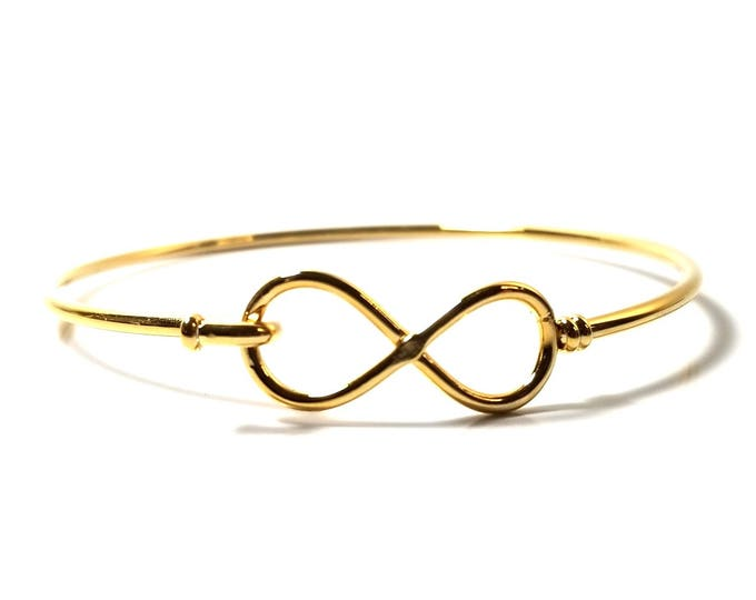 Gold Infinity Bangle Bracelet, Stainless Steel Charm Bracelet Finding, 60mm diameter, 2mm thick approx., #1801 G