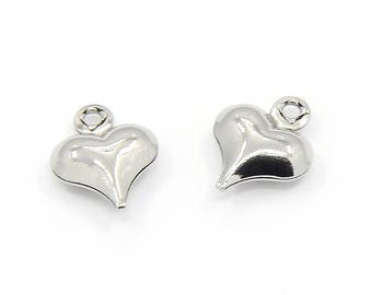 Tiny Puffy Hearts, Stainless Heart Charm, Valentine Charm, 10x8x3mm, Lot Size 30 to 100, #1611