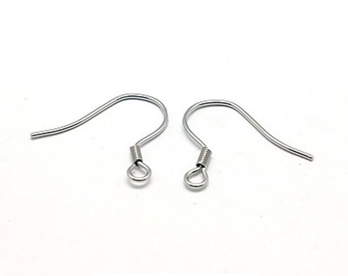 French Hook Ear Wires, Coil Design, Stainless Steel Findings, 50 Pieces, 17mm, Hypoallergenic, Non Tarnish, #1319