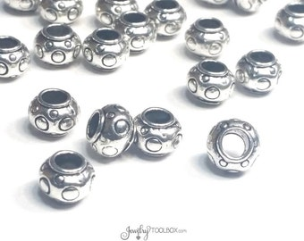 Silver Rondelle Beads, Antique Silver Pewter Extra Large Hole Beads, Metal Beads, 6x8mm, 4mm Hole, Lot Size 10 to 50, #1357 BH