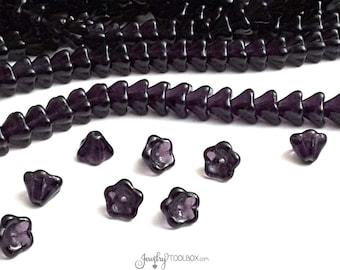 Tanzanite Bell Flower Beads, 8x6mm, Czech Glass Beads, Flower Bead Cap, Dark Amethyst Bellflower Beads, Lot Size 25 Beads, #212