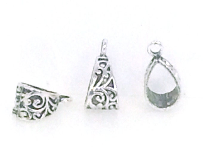 Pendant Bail, Pewter Necklace Bail, Antique Silver Findings, Lead Free, 20x10mm, Lot Size 10 to 50, #1063