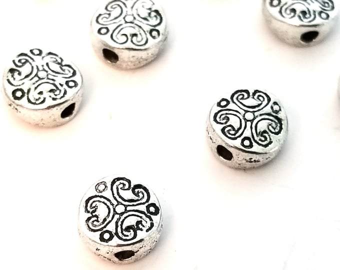 Coin Beads, Tiny Antique Silver Pewter, Decorative Metal Beads, Double Sided, 6mm, 1mm Hole, Lot Size 20 to 50 Beads, #1372
