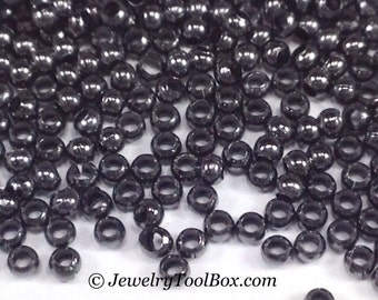 Metal Seed Beads, 15/0, Size 15, GUNMETAL Plated, 1x1.5mm, Brass Spacers, Made in the USA, Lead Free, Lot Size 5 to 14 grams, #1465