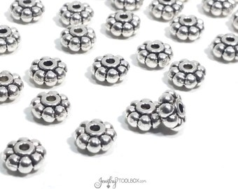 Chunky Daisy Spacer Beads, Antique Silver Rondelle Beads, Pewter Metal Beads, Large Hole Beads, 8x4mm, 2mm Hole, Lot Size 25 to 50, #1058