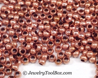 15/0 Seed Beads, Metal, Size 15, COPPER Plated, 1x1.5mm, Brass Spacers, Made in the USA, Lead Free, Lot Size 5 to 15 grams, #1470