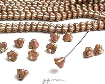Luster Rose Gold Topaz Bell Flower Beads, 8x6mm, Czech Glass Beads, Flower Bead Cap, Bellflower Beads, Lot Size 25 Beads, #209