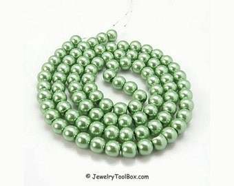 Green Aquamarine Pearls, Glass Bead Strands, Pearlized Round Glass, 36 inch Strand, Choose 4mm, 6mm, 8mm, 10mm, Hole 1mm