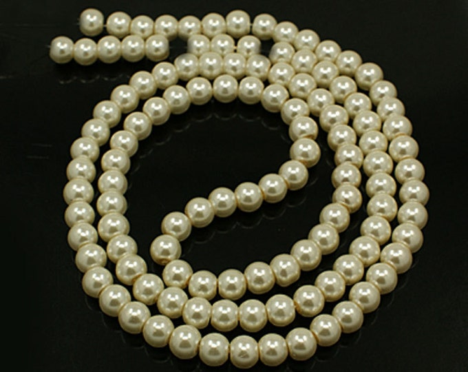 Pearl Ivory Bead Strands, Pearlized Glass, Round, 36 inch Strand, Choose 4mm, 6mm, 8mm, 10mm, Hole 1mm