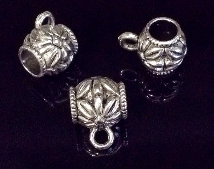 Charm Pendant Bail, Pewter, Antique Silver Tone, Lead Free, 14x10mm, Lot Size 6 to 25, #1190