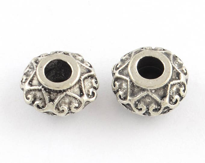 Hearts Rondelle Beads, 30 Beads, Antique Silver Metal, Saucer Shape, 10.5x6mm, 4mm Hole, Lead Free, Nickel Free,  #1568 BH