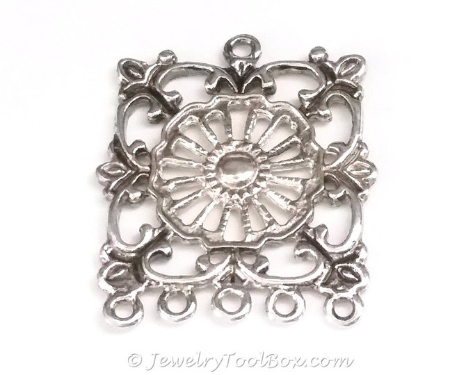 Filigree Chandelier Earring Finding, Antique Silver, 32x36mm, 2.5mm Loops, Lot Size 4 to 10, #2141