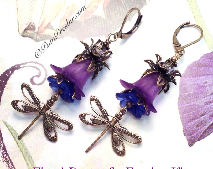 Featured listing image: Do It Yourself Jewelry Kit, Make Your Own Earrings Kit, Purple Floral Dragonfly Earring Kit, Vintage Flower Design, #001