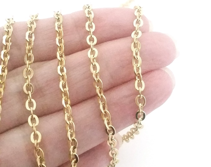 Gold Stainless Steel Jewelry Chain, 3x4mm Oval Open, Flattened Links, Hypoallergenic, Non Tarnish, Lot Size 4 to 20 Feet, #1906 G