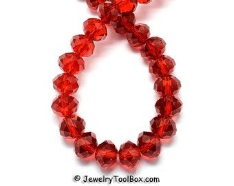RED Crystal Rondelles, Faceted Glass Abacus Beads, 16 to 24 inch Strands, Choose Bead Size 6x4mm, 8x6mm, 10x7mm, 12x8mm, Hole 1mm
