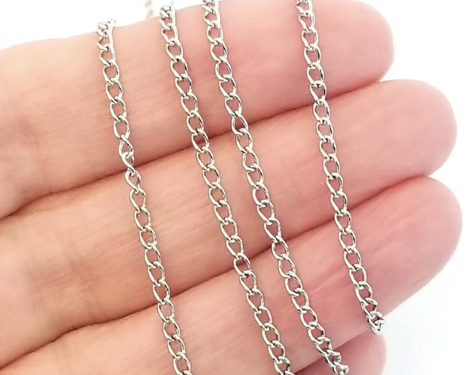 Twist Chain, Stainless Steel, Decorative Rolo Chain, 3x2x0.5mm, Hypoallergenic, Non Tarnish, Lot Size 4 to 20 Feet,  #1919 T