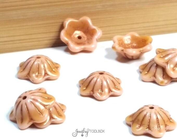 Pink Amber Glass Flower Bead Cap, Czech Glass Bead, Wide Bell Flower Bead, 14x11mm, Lot Size 10, #6406