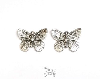 Butterfly Charms, Silver Butterfly Pendants, Antique Silver Pewter, 15x19mm, Lot Size 8 to 100, #1034 BY
