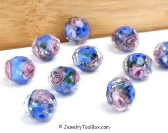 Blue Crystal Beads, Crystal Flower Inside Beads, Faceted Crystal Rondelles, Rose Flower Inside Beads, 11x9mm, Hole 2mm, Lot Size 14 Beads