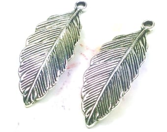 Leaf Charm, Silver Pewter Antiqued, Large, 32x13mm, Lead Free, Lot Size 8 to 24, #1172
