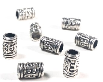 Extra Large Hole Beads, Barrell Beads, Metal Beads, Antique Silver Pewter, 10x6mm, 4mm Hole, Lead Free, Lot Size 24 to 50, #1370 BH