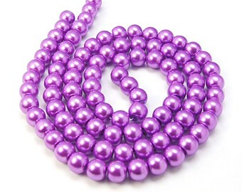 Glass Pearl Bead Strands, Pearlized Round Glass, Dark Orchid, 36 inch Strand, Choose 4mm, 6mm, 8mm, 10mm, Hole 1mm