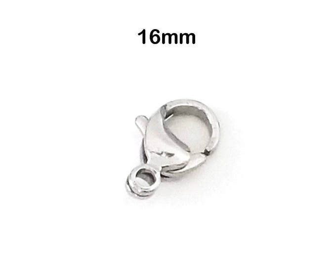 16mm Lobster Clasp, Non-Tarnish, Stainless Steel 16x10.5x4.7mm, Hypoallergenic, Jewelry Making Supplies, Lot Size 5 to 25, #1335