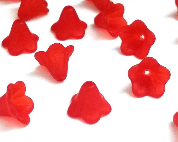 Red  Flower Beads, Acrylic Trumpet Flower Bead Cap, Frosted Transparent Red Beads, 14x10mm, 1.5mm hole, Lot Size 50 to 100, #1455