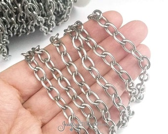 Jewelry Making Chain, Thick Stainless Steel Chain, Bracelet Chain, 9x6x1.5mm Lot Size 2 to 20 Feet,  #1932