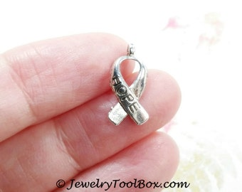 Cancer Awareness Ribbon Charms, Pendants, Antique Silver, Lead Free, Nickel Free, 18x7.5x3mm, 1.5mm Loop, Lot Size 10 to 50, #2118