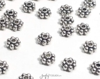 Small Daisy Spacer Beads, Antique Silver Rondelle Beads, Metal Beads, Bulk Beads, 2x5mm, 1mm Hole, Lead Free, Lot Size 40 or 80, #1037