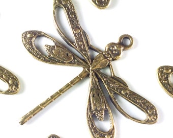 Filigree Dragonfly Charms, Pendant, 21x24mm, 1 Loop, Antique Brass, Large, Made in the USA, Lead Free, Nickel Free, Lot Sizes 4 to 24, #08B