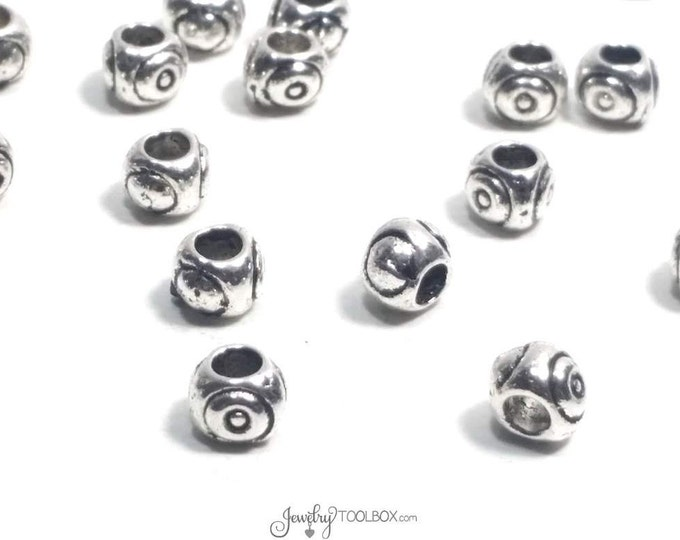 Antique Silver Evil Eye Beads, 50 Pieces Pewter Large Hole Beads, Bulk Metal Jewelry Beads, 4x5mm, 2.5mm hole,  #1341 BH