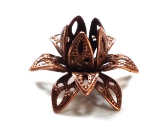 Filigree Flower Bead Caps, Antique Copper, Multiple Layer Flower, Bendable, Moldable, Vintage Look, 2mm Hole, Lot Size 10 to 40, #2054
